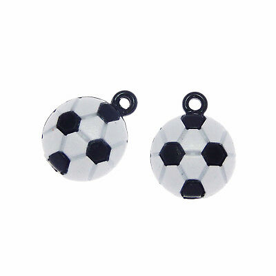 20pcs Jewelry Making Alloy Black&White Football Pendants Charms Crafts 53329