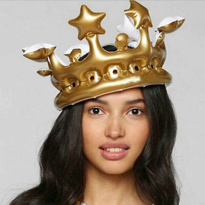 Inflatable Gold Crown 20cm Prop Hat Blow Up Photo Booth King Queen Royalty