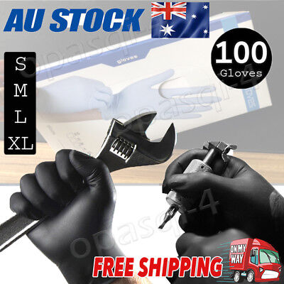 100x Disposable Mechanic Gloves Black Nitrile Gloves Tattoo Silicone Black S-XL