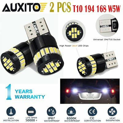 AUXITO 2x CANbus 24-SMD T10 HID White LED Light Bulbs 194 168 175 W5W 2825