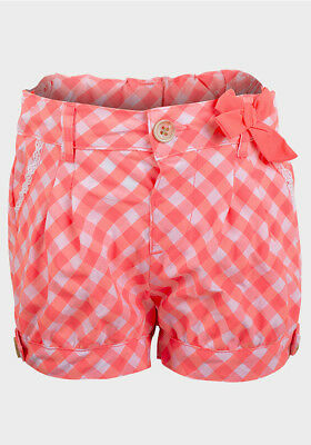 Girls Lily & Lola Neon Salmon Pink Check Shorts Ages: 12/18 m, 2/3 y,  3/4 Years