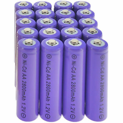 20 AA Rechargeable Batteries NiCd 600mAh 1.2v Garden Solar Ni-Cd Light A20