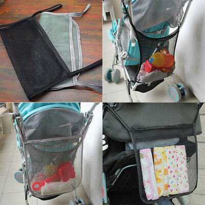Universal Pushchair Buggy Pram Stroller Hanging Mesh Net Bag Storage Black/Grey