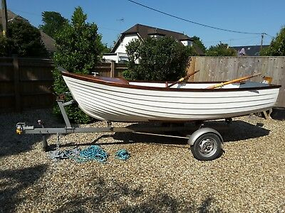 Dayboat with road trailer suitable for fishing, rowing or use as a dinghy/tender