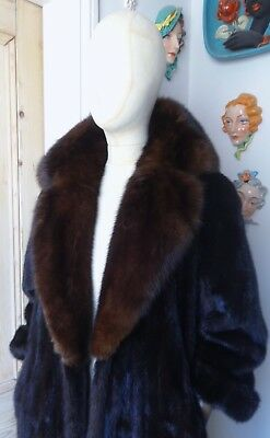 """Mahogany"" Massive Barguzin Russian Sable Collar Ranch Mink Coat-UK sz 12 to 14."