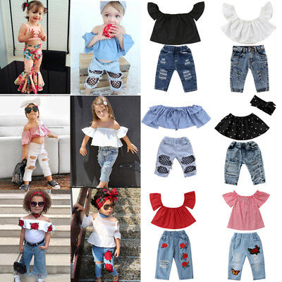 4688598f3c35e Canis Toddler Kids Baby Girls Off Shoulder Tops Hot Denim Pants Outfits  Clothes