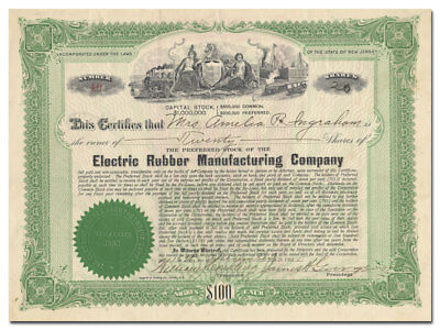 Electric Rubber Manufacturing Company Stock Certificate (Rutherford, New Jersey)