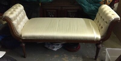 VINTAGE CHAISE / BENCH EMPIRE STYLE Bronze Mounts Tufted Silk Upholstery AsIs