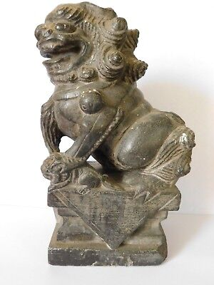 ANTIQUE CHINESE CARVED STONE FOO DOG  ( 20cm Tall )