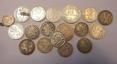 great britain  lot of 17 silver coins - some good coins