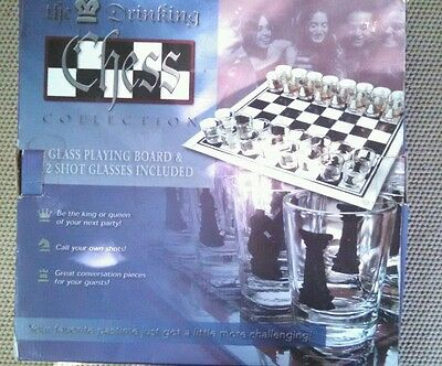 Shot Glass Drinking Game Chess Set - 32 Piece Shot Glass and Glass Board
