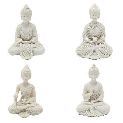 Mini White Thai Buddha Religious Statue Small Ornament Buddhism Gift - 5.5cm