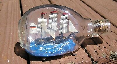 Antique vintage nautical maritime miniature boat ship in 6-inch bottle