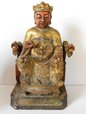 b/     ANTIQUE CHINESE LACQUERED GILT WOOD GOD / DEITY FIGURE