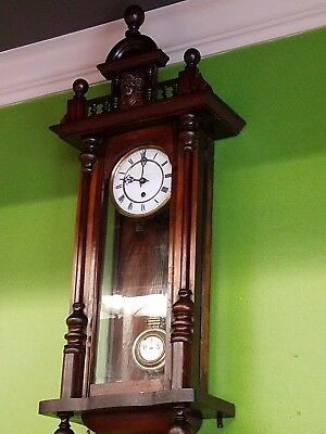 Antique   R=A Wall Clock Ornate Wood working! Circa 1910 Glass Front!  WE SHIP!