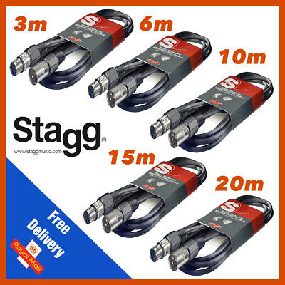 Stagg Microphone Mic Cable SMC 1, 3, 6, 10, 15, 20 Meter XLR Male to XLR Female