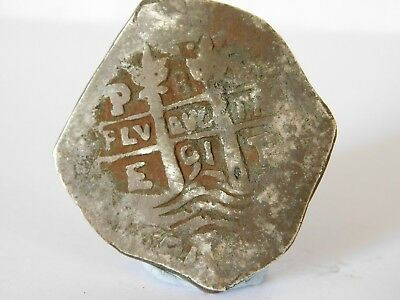 c / ANTIQUE SOLID SILVER SPANISH / MEXICAN COB / REALE COIN PIECE OF EIGHT