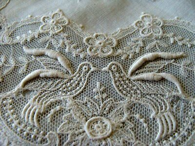 GORGEOUS Antique Embroidered Net Lace DOVES Sachet Holder Victorian Lawn Linen