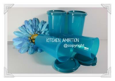 New TUPPERWARE 9~oz Set of 4 Straight Side Tumblers Drinking Cups & Seals #BT2