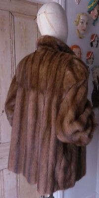"Real Fur 30"" Long Natural Wild Mink Vintage Short Coat Jacket-UK size 12 to 14."