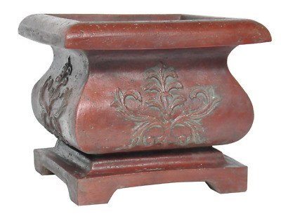 """Rustic Patina Green Square Cast Stone Bombe Planter 21"""" Weather Resistant Pot"""