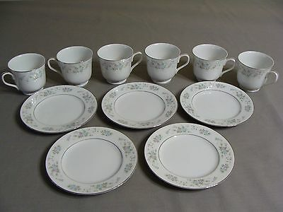 5 Carlton Bread Plates & 6 Cups, #481 Corsage Pattern, Made In Japan