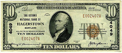 $10 The Second National Bank of Hagerstown Maryland XF+