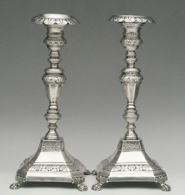 19th Century Porto, Portugal Silver Candlestick Pair 1843-1853 - Marked DTF