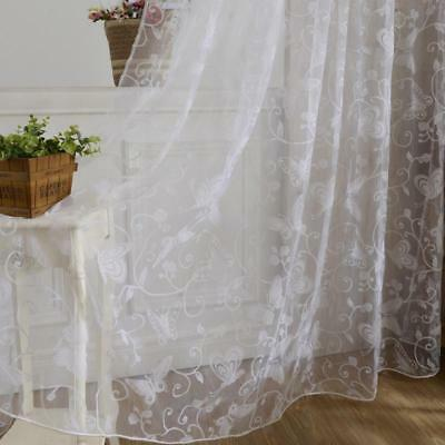 Window Treatment Curtains Tulle Voile Fabric Sheer Floral Butterfly Design Decor