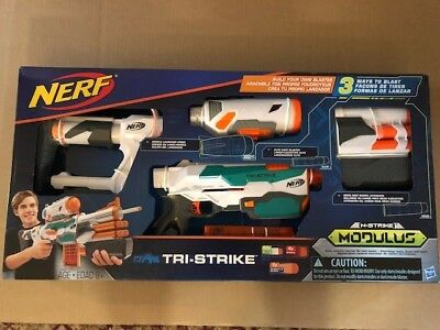 NERF N-Strike Modulus Tri-Strike Blaster Kids Toy Soft Foam Dart Gun Set NEW!