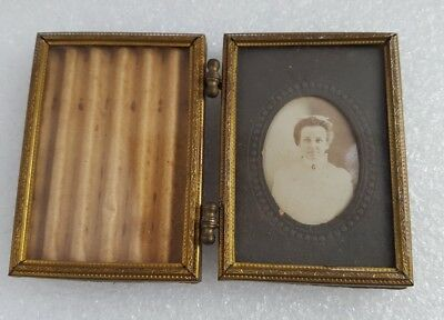 Antique double sided pocket ornate brass frame with original photo and glass