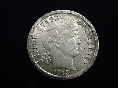 1913 P US Barber Silver Dime High Grade With Full Liberty