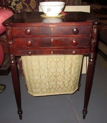 Federal Salem Antique Sewing Stand Attributed To William Hook Circa 1810 Rare!
