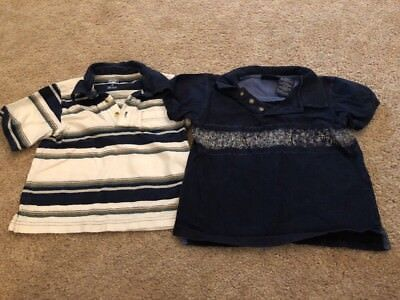 Faded Glory Toddler Boys Blue White Striped Polo Top Lot 3t