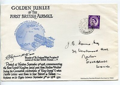 Great Britain 1961 Golden Jubilee First British Airmail Cover Canc Hendon