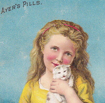 1800's Ayers Pills Little Favorites Kitten cat Kidney Liver Cure Gout Trade Card