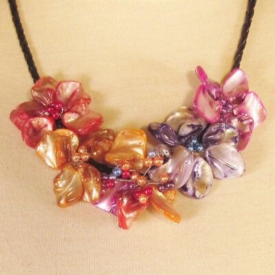 "16""Colorful Flower Mother of Pearl Shell Seed Bead Handmade Bali Choker Necklace"