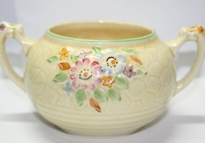 "CROWN DEVON ""Garden Path"" 1930s 40s yellow floral 2-handled bowl; model no A103"