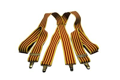 1970 Vintage Yellow and Red Striped Braces Trousers Suspenders