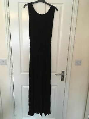 Asos Black Maternity Maxi Dress UK14 Cross Over Front With Tie Sides