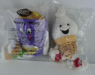 Lot 2 DQ Dairy Queen Blizzard Curly Top Cone Bean Plush Toy Doll Sealed Promo