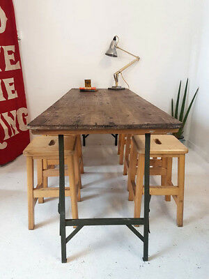 1 x Vintage Wooden + Metal Military Folding Trestle Table Desk Dining Table QTY