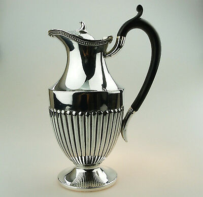 Antique Silver Plate an attractive fluted Claret Wine Jug C.19thC