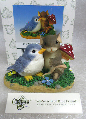 "Charming Tails ""YOU'RE A TRUE BLUE FRIEND"" Dean Griff Signed Figurine NIB"