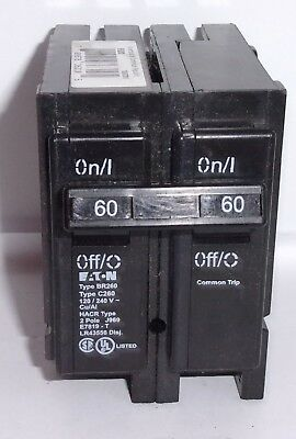 New lot of 2 Eaton Type BR Circuit Breaker 2 Pole 60 Amp BR260