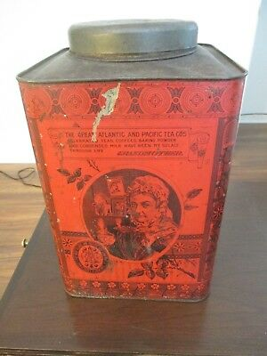 Circa 1900 A&P COFFEE TIN Grocery Store Atlantic & Pacific Red Rare Huge w/LID