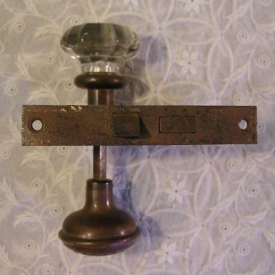 Vintage Door Knobs 1 Crystal Glass & 1 Brass with Hardware Antique Mortise Lock