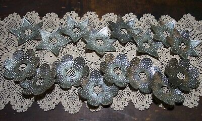 """16 vintage rustic tin punched metal tree light reflectors stars & flowers 3"""""""