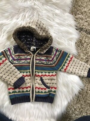 Boy's Hanna Andersson Fair Isle Zip Up Hoodie Size 90 Beige Blue Red Size 3 Year