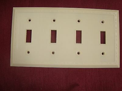 VTG LEVITON BAKELITE 4 GANG QUAD TOGGLE SWITCH PLATE COVER Bordered IVORY